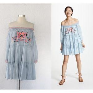NWT Free People Sunbeams Embroidered Mini Dress M